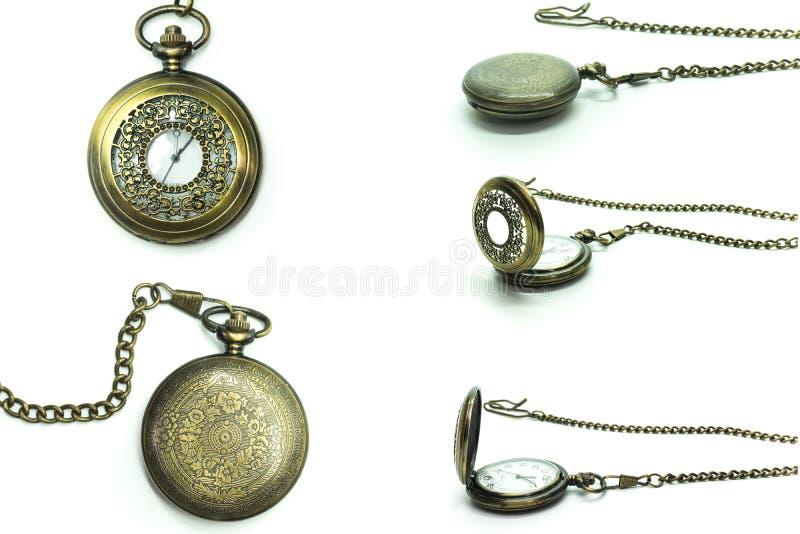 Weinlese-Uhr-Medaillon-Halskette lokalisiert über weißem Hintergrund lizenzfreies stockbild