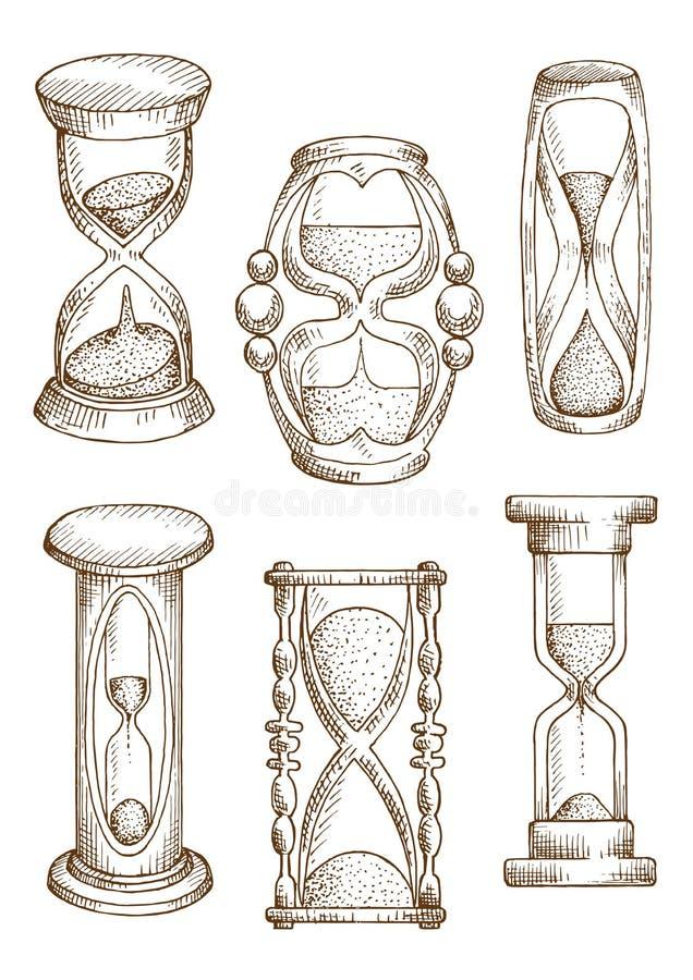 Weinlese und moderne Sanduhrskizzenikonen lizenzfreie abbildung