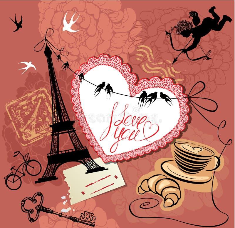 Weinlese-Valentinsgruß-Tagespostkarte mit Paris-Thema - stock abbildung