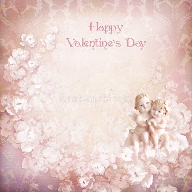 Weinlese-Valentinsgrußhintergrund mit Engeln stock abbildung