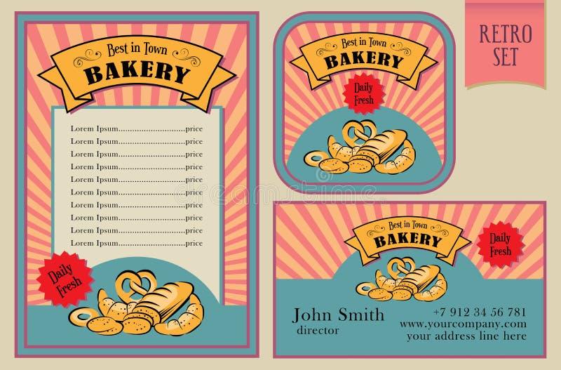 Weinlese-Vektor-Bäckerei beschriftet Sammlung stock abbildung