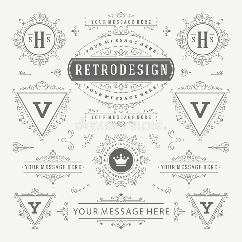 Weinlese-Vektor verziert Dekorations-Gestaltungselemente Blüht kalligraphische Kombinationen Retro- Logo stock abbildung