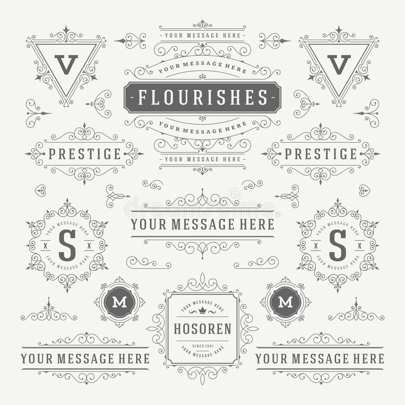 Weinlese-Vektor verziert Dekorations-Gestaltungselemente Blüht kalligraphische Kombinationen Retro- Logos vektor abbildung