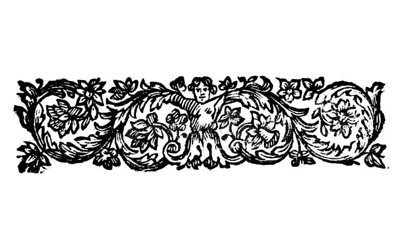 Weinlese-Vektor-Zeichnung oder Gravieren des antiken Blumendekorations-Entwurfs des Frauen-Charakters mit den Gliedern, die in de vektor abbildung