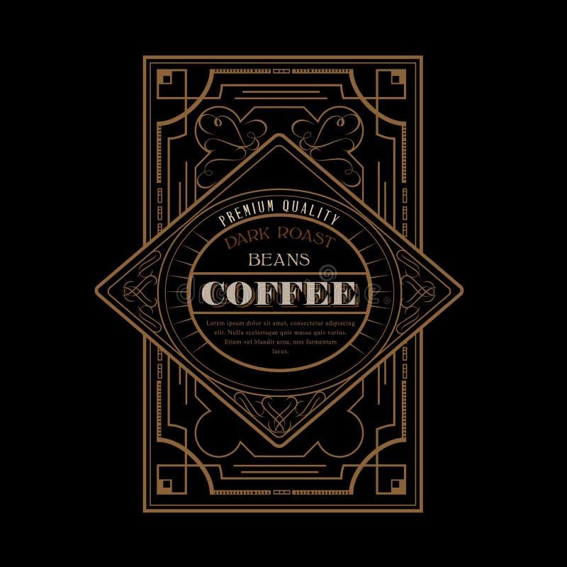 Weinlese Victorianwestrahmen-Kaffeeaufkleber lizenzfreie abbildung