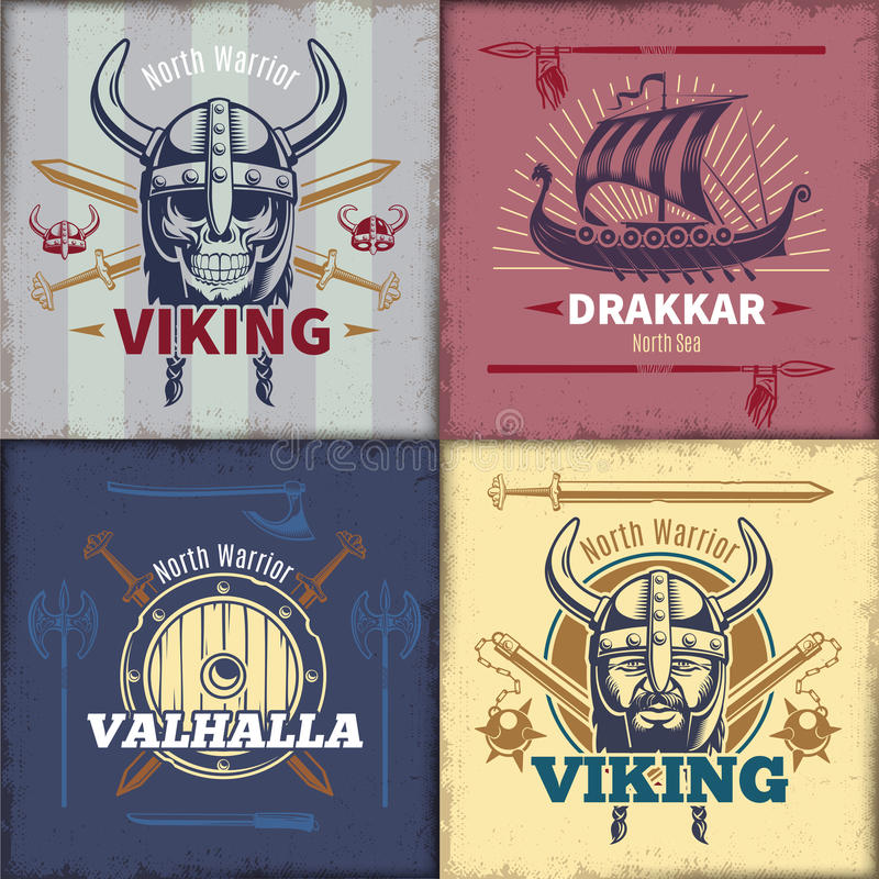 Weinlese Viking Emblems Set lizenzfreie abbildung