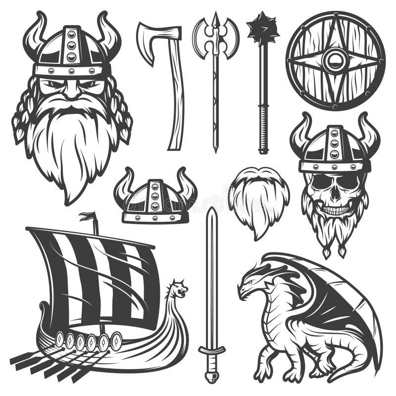Weinlese Viking Icon Set lizenzfreie abbildung