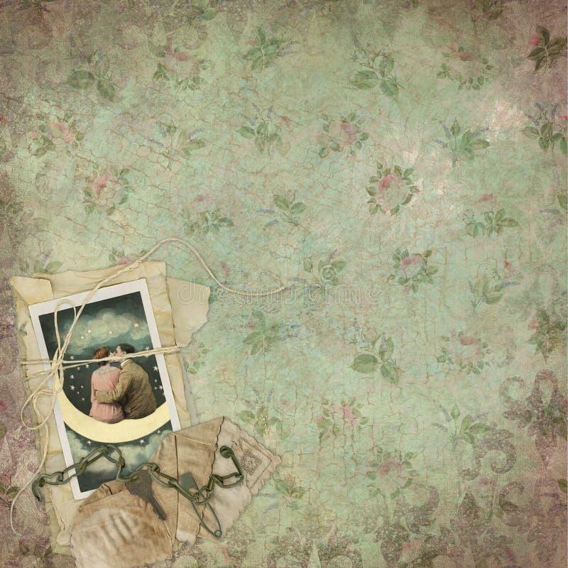Weinlese viktorianische beunruhigte Rose Floral Background - Einklebebuch-Papier - Romance vektor abbildung