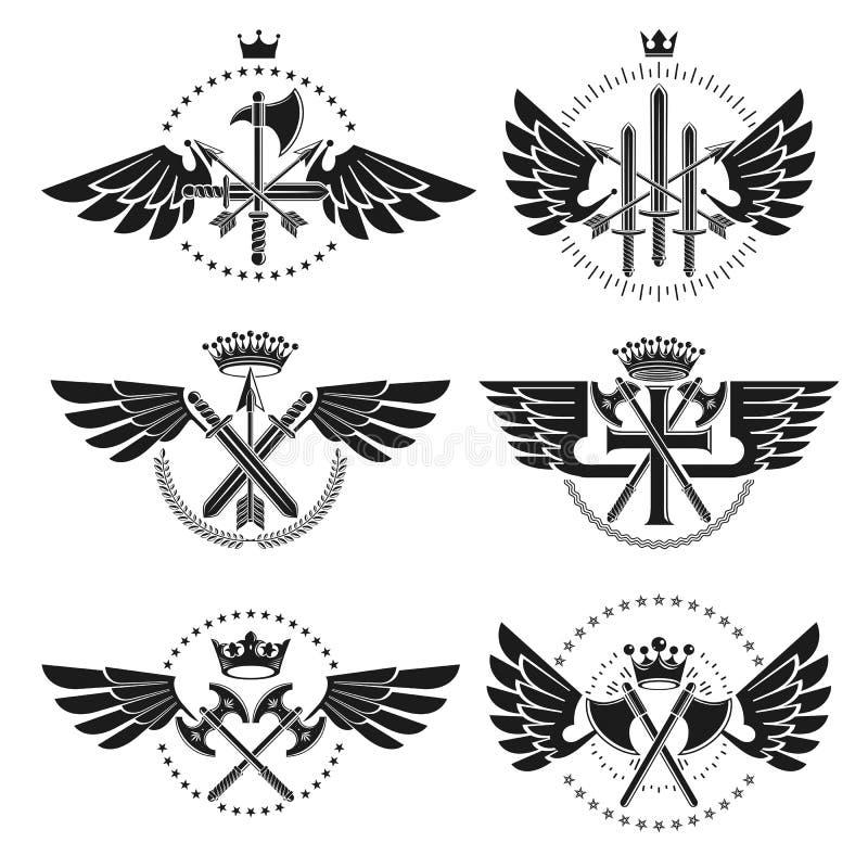 Weinlese-Waffen-Embleme eingestellt Heraldische Zeichenvektor-Weinlese elemen stock abbildung