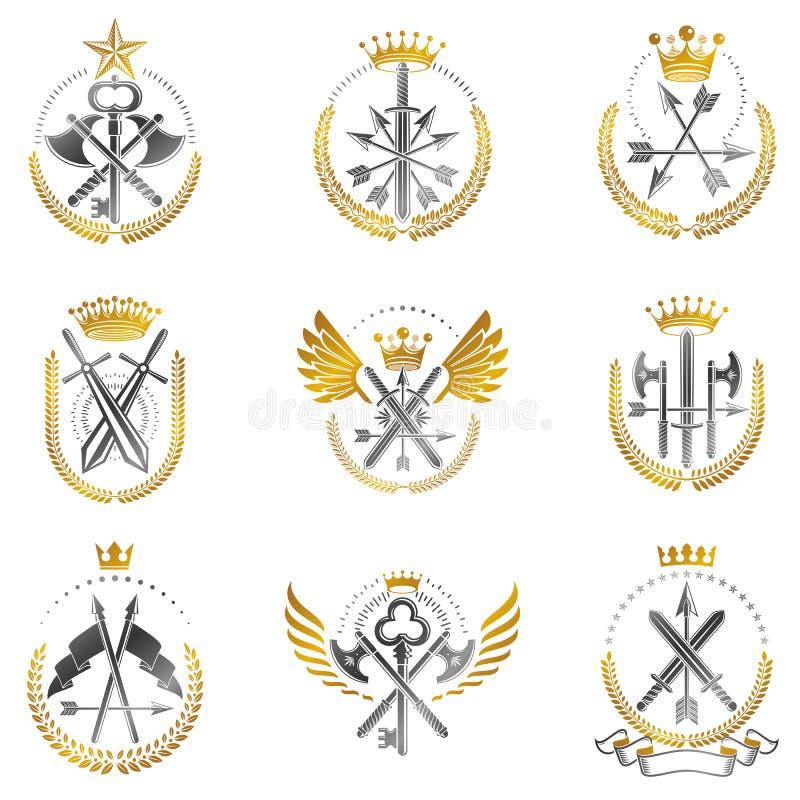 Weinlese-Waffen-Embleme eingestellt Heraldisches Wappen dekorative Embleme lokalisierte Vektorillustrationssammlung lizenzfreie abbildung