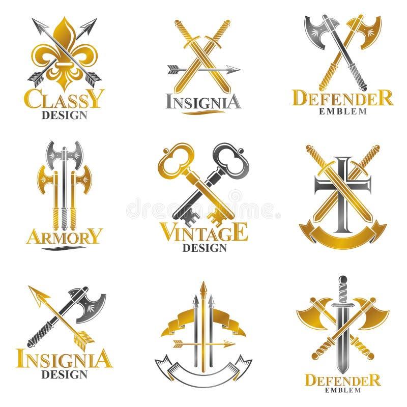 Weinlese-Waffen-Embleme eingestellt Heraldisches Wappen dekoratives emb vektor abbildung