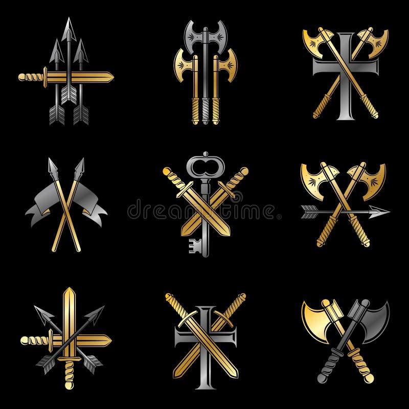 Weinlese-Waffen-Embleme eingestellt Heraldisches Wappen, Weinlesevektor versinnbildlicht Sammlung lizenzfreie abbildung