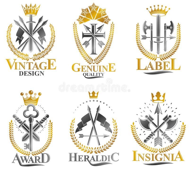 Weinlese-Waffen-Embleme eingestellt Heraldisches Wappen, Weinlesevektor versinnbildlicht Sammlung stock abbildung