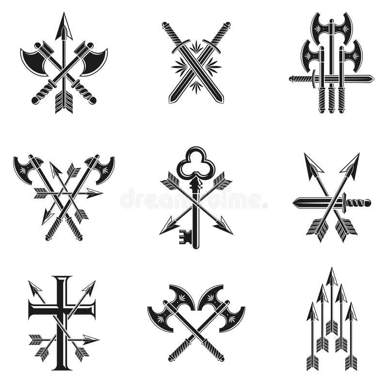 Weinlese-Waffen-Embleme eingestellt Weinlesevektor-Gestaltungselemente colle lizenzfreie abbildung