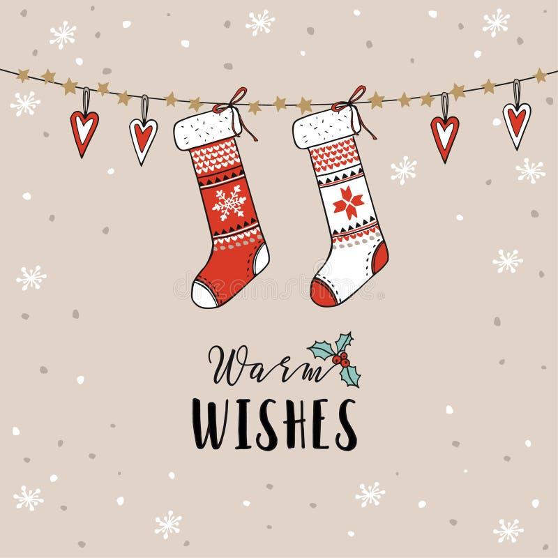 Weinlese-Weihnachten, Grußkarte des neuen Jahres, Einladung Traditionelle Dekoration, hängende gestrickte Socken, Strümpfe, Herze stock abbildung