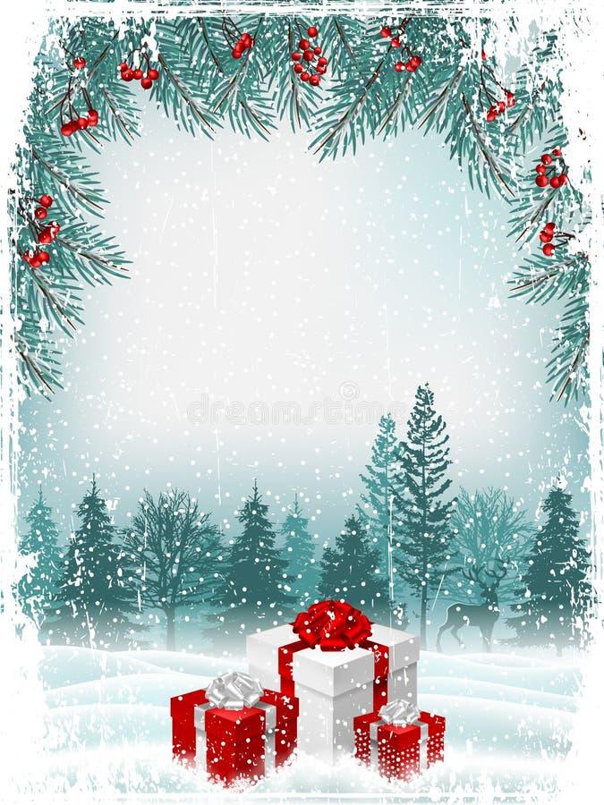 Weinlese-Weihnachts- oder des neuen Jahresgrußkarte Vektor stock abbildung