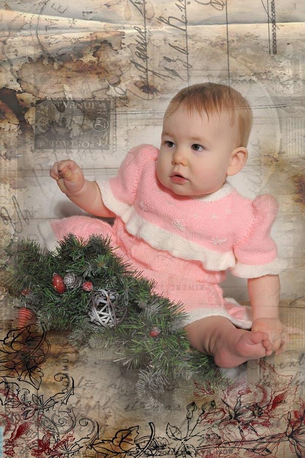 Weinlese-Weihnachtsbaby lizenzfreie stockfotos