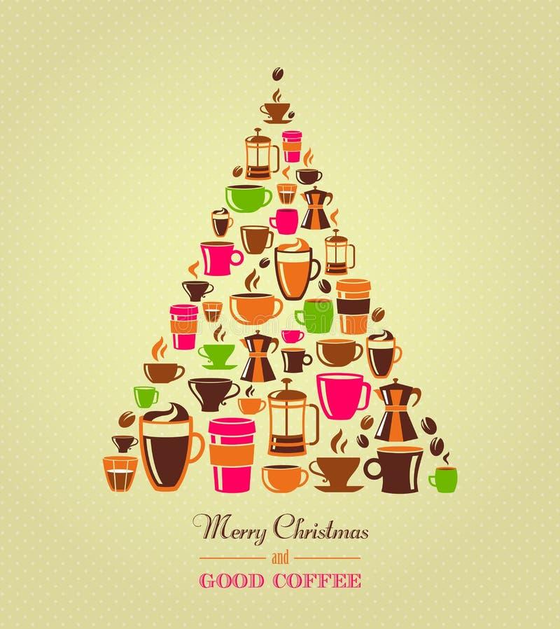 Weinlese-Weihnachtsbaum-Kaffeeikonen lizenzfreie abbildung