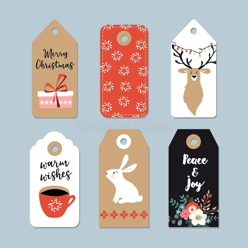 Weinlese-Weihnachtsgeschenktags eingestellt Hand gezeichnete Aufkleber mit Häschen, Rotwild, Eisbären, Tasse Kaffee und Winterblu lizenzfreie abbildung