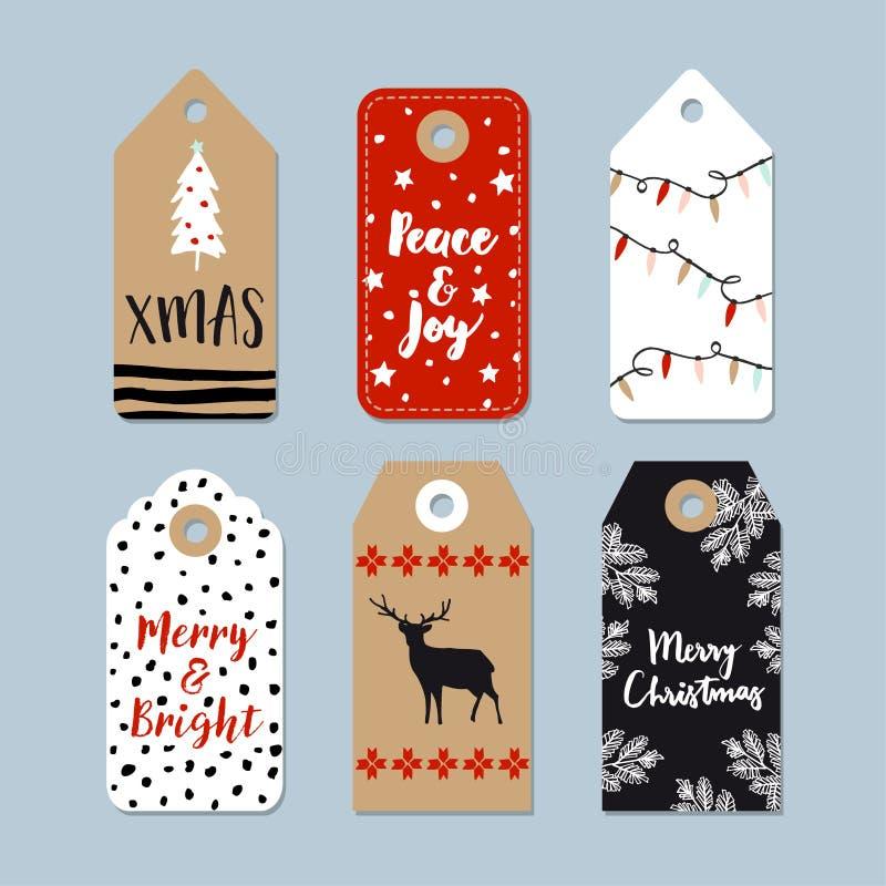 Weinlese-Weihnachtsgeschenktags eingestellt Hand gezeichnete Aufkleber mit Weihnachtsbaum, Rotwild, Sternen und Lichtern Abbildun stock abbildung