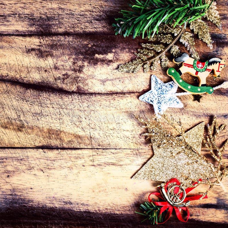 Weinlese-Weihnachtsgrenze mit Kopienraum, Br Weihnachtsdekorations-amerikanischen Nationalstandards lizenzfreies stockfoto