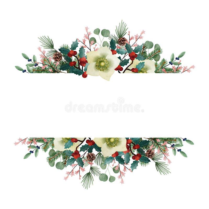 Weinlese-Weihnachtsgrußkarte, Einladung Aquarellblumengirlande hergestellt von den Tannenbaum- und -eukalyptusniederlassungen lizenzfreie abbildung