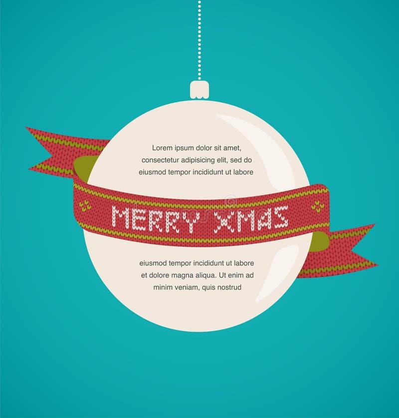 Weinlese-Weihnachtsgrußkarte mit gestricktem Band lizenzfreie abbildung