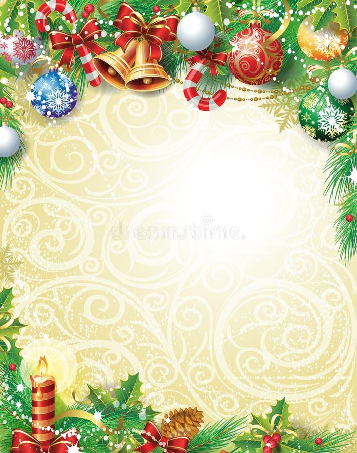 Weinlese-Weihnachtshintergrund stock abbildung