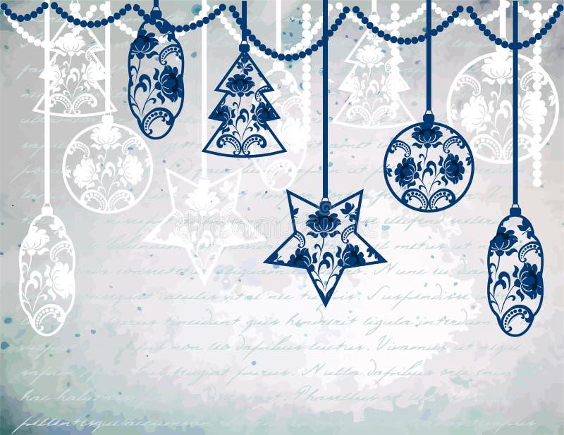 Weinlese-Weihnachtshintergrund lizenzfreie abbildung