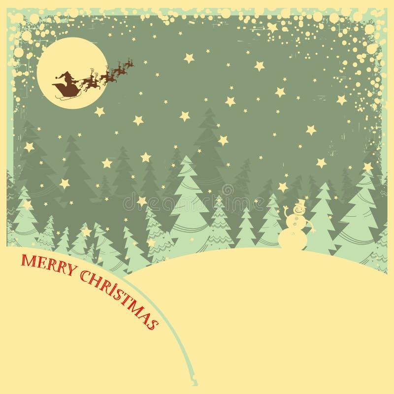 Weinlese-Weihnachtshintergrund mit Text auf Nachtla vektor abbildung