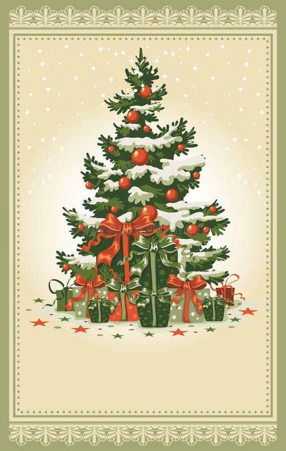 Weinlese-Weihnachtskarte stock abbildung