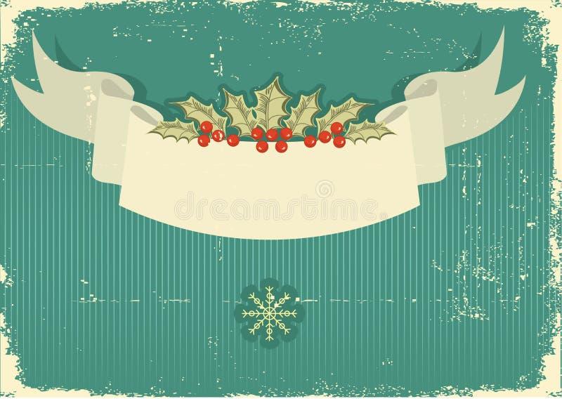 Weinlese-Weihnachtskarte für Hintergrund vektor abbildung