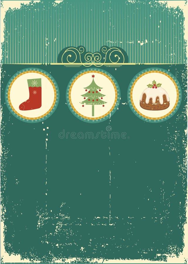 Weinlese-Weihnachtskarte für Hintergrund lizenzfreie abbildung