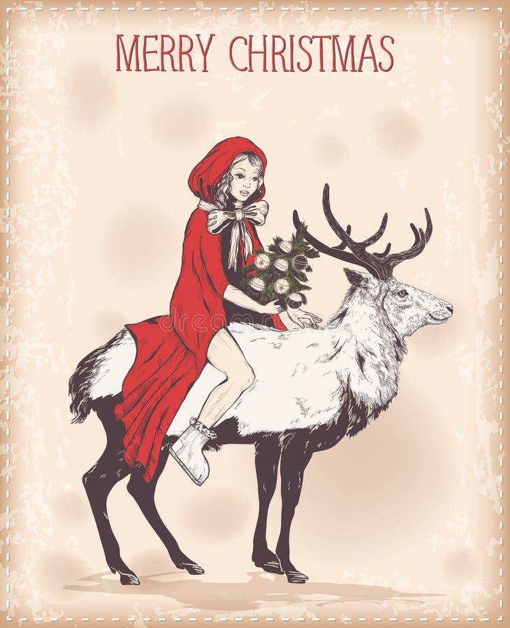Weinlese-Weihnachtskarte mit Mädchen in einem roten Mantel auf Rotwild lizenzfreie abbildung
