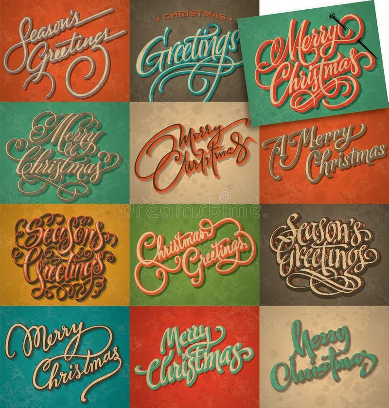 Weinlese-Weihnachtskartenset stock abbildung