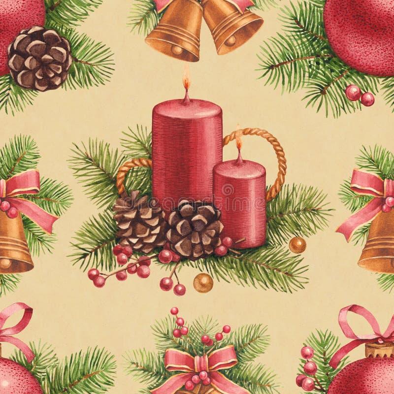 Weinlese-Weihnachtsmuster stock abbildung