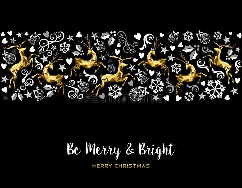 Weinlese-Weihnachtsmuster-Rotwilddekoration im Gold vektor abbildung
