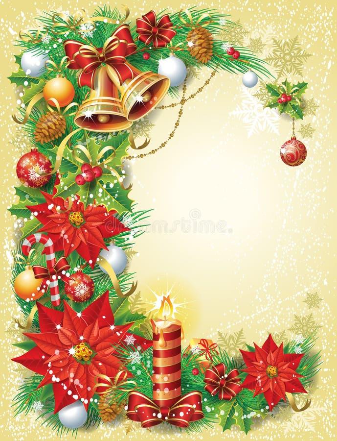 Weinlese-Weihnachtsschablone stock abbildung