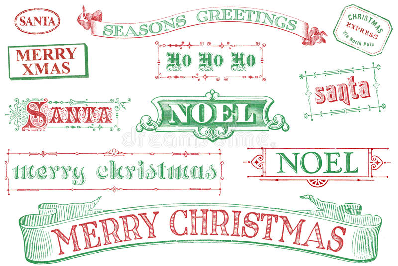 Weinlese-Weihnachtsstempel stock abbildung