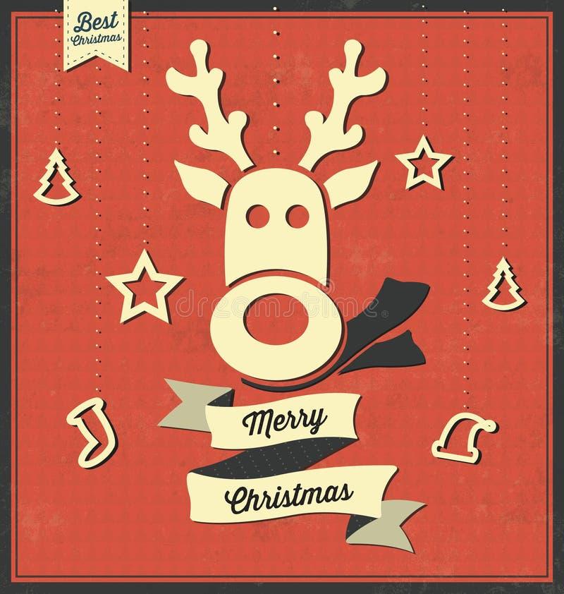 Weinlese-Weihnachtsvektor-Gruß-Karte - Retro- Hintergrund-Design - Ren-Karikatur lizenzfreie abbildung