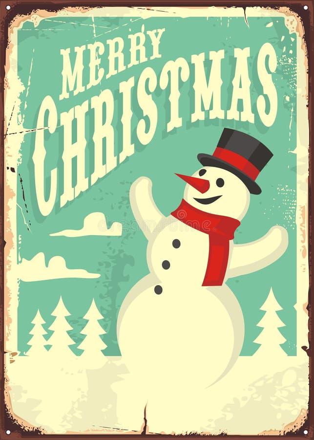 Weinlese-Weihnachtszeichen lizenzfreie abbildung