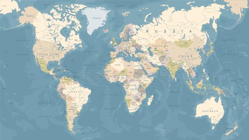 Weinlese-Weltkarte - Vektor-Illustration lizenzfreie abbildung