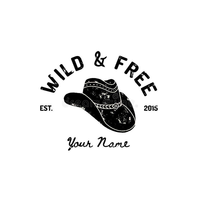 Weinlese-Westcowboy Hat Logo Vektor-Symbol des wilden Westens, Texas US-Aufkleber Retro- Typografie-Schmutz-Art vektor abbildung