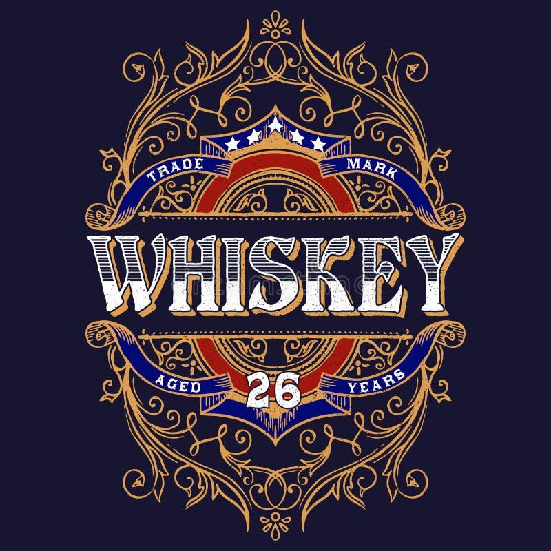 Weinlese-Whisky-Aufkleber-T-Shirt Design vektor abbildung