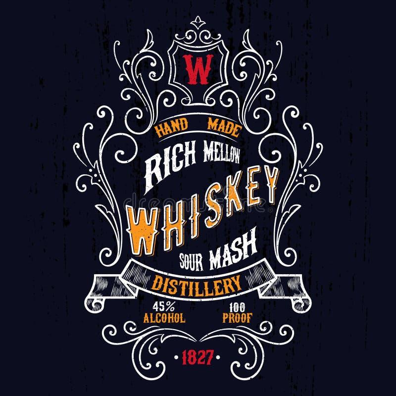 Weinlese-Whisky-Aufkleber-T-Shirt Design lizenzfreie abbildung