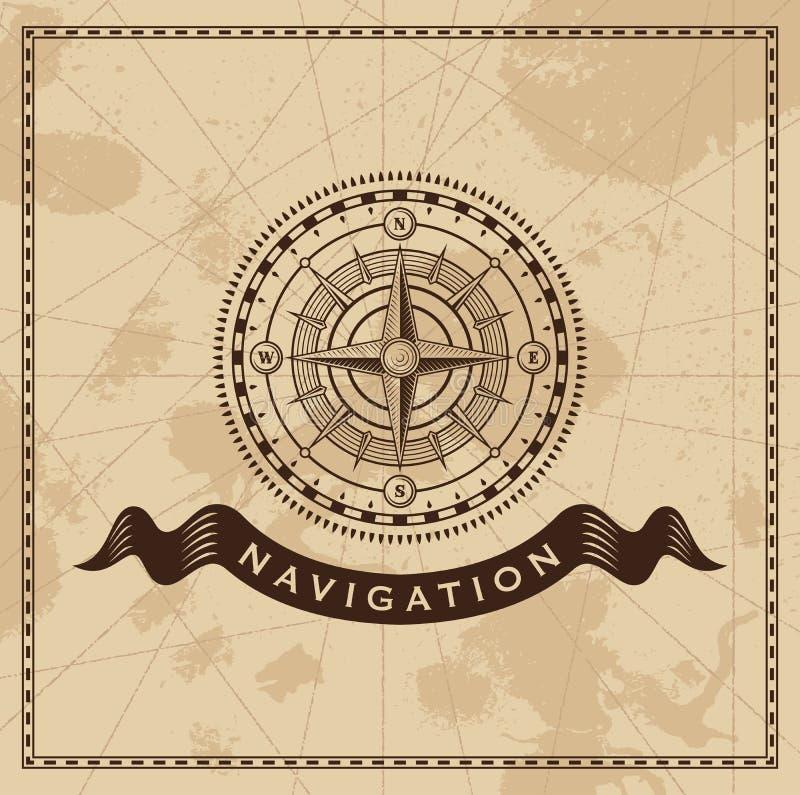 Weinlese-Wind Rose Nautical Compass stock abbildung