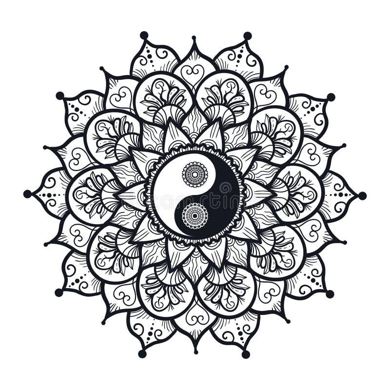 Weinlese Yin und Yang in der Mandala lizenzfreie abbildung
