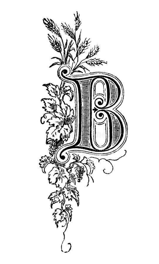 Weinlese-Zeichnung dekorativen Großbuchstaben B mit Blumenverzierung herum stock abbildung