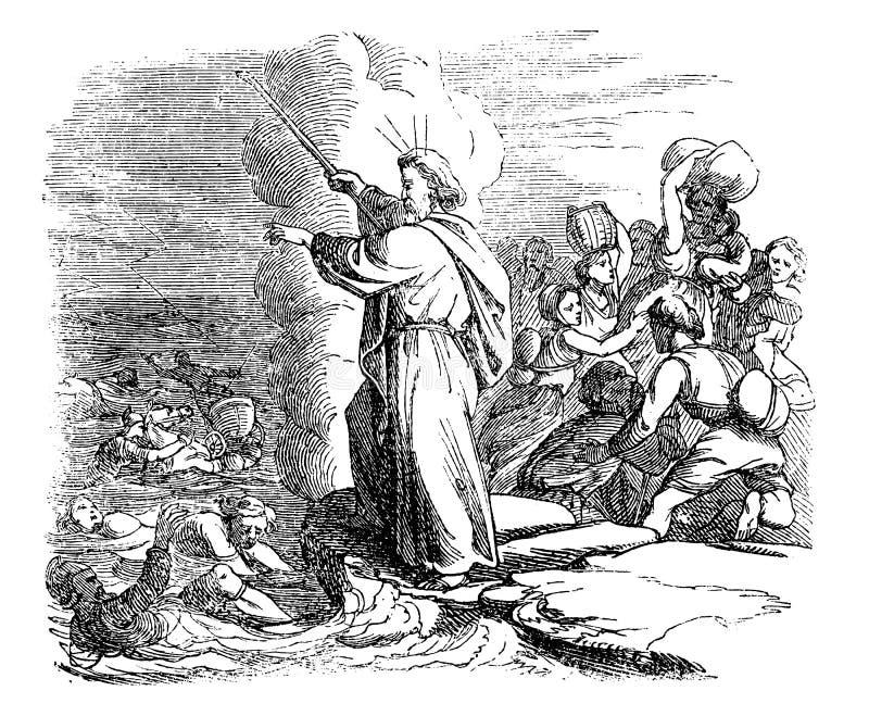 Weinlese-Zeichnung der biblischen Geschichte der Kreuzung des Roten Meers, Moses Leading Israelites Safely Through, ägyptische Ar vektor abbildung