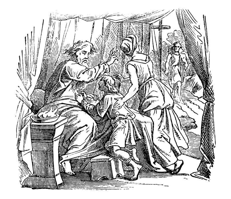 Weinlese-Zeichnung des alten Mannes Segen, biblische Geschichte über Issac, Jakob und Esau gebend dem Jungen stock abbildung